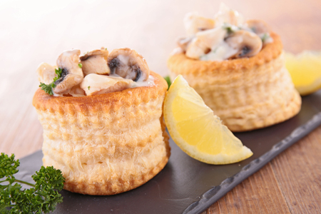 puff pastry filling with mushroom,cream and chicken
