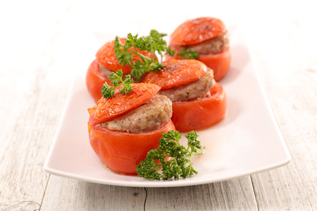 baked tomato stuffed with minced beef Stock Photo