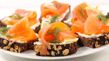 canape with smoked salmon and dill