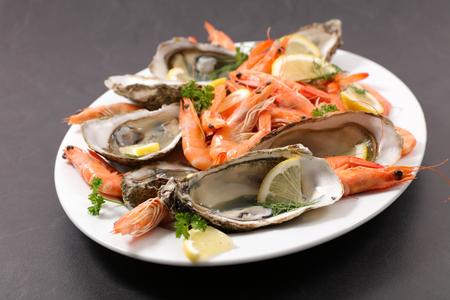 assorted shrimp and oyster Stock Photo