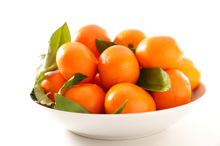 fresh clementine and leaf Stock Photo