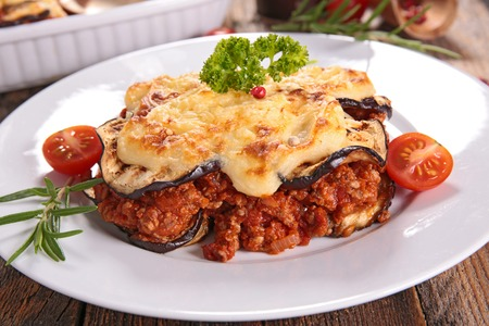 moussaka, aubergine,beef and tomato sauce Фото со стока