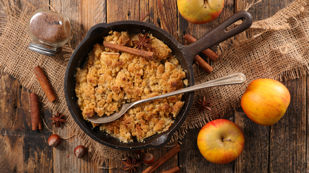 homemade apple crumble Stock Photo