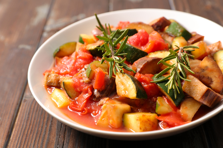 grilled vegetable with sauce and herb Stock Photo