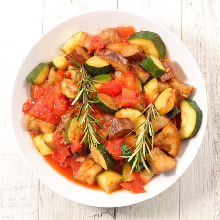 grilled vegetable with sauce and herb Stockfoto