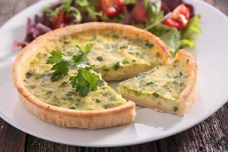 leek quiche and salad