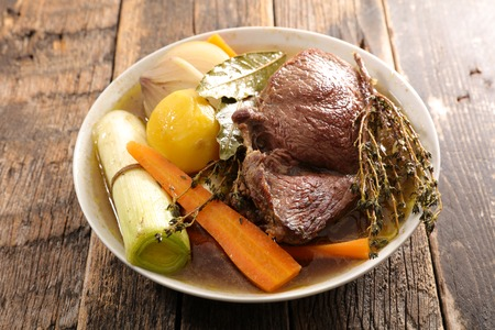 pot au feu, beef stew with vegetable Banco de Imagens