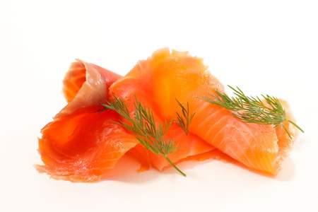 smoked salmon slices and dill Stockfoto