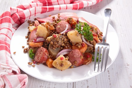 lentils with meat and vegetable 写真素材