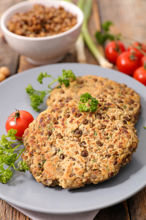 vegetarian steak with lentils and spices Stock Photo