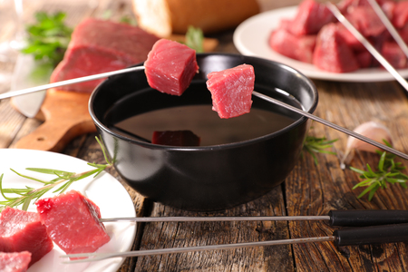 beef fondue party Stock Photo