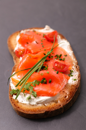bruschetta, bread with salmon and cream