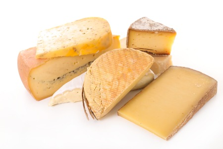 various of cheese isolated on white background