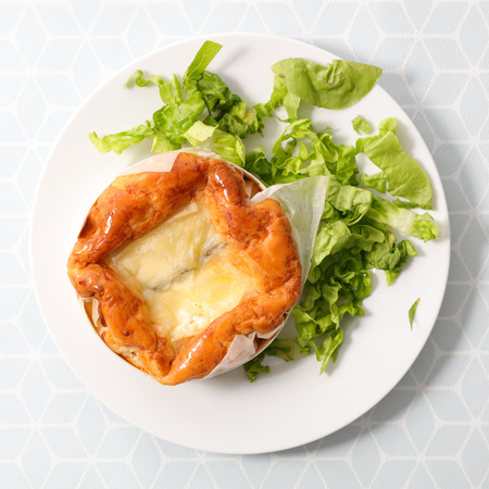 baked camembert and salad Stock Photo