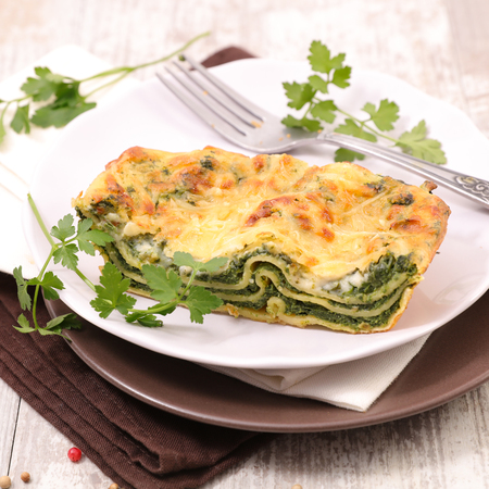 lasagne with spinach and cream Standard-Bild
