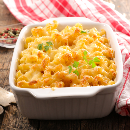 baked pasta with cream and cheese Stock Photo