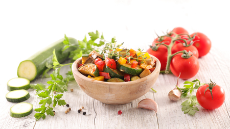 vegetable stew with zucchini, eggplant, tomato and bell pepper Stock Photo