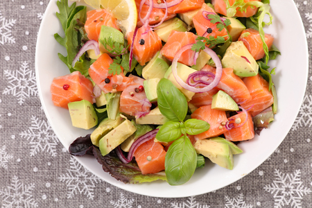 salmon with avocado and basil Stock Photo
