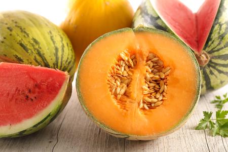 melón fresco y sandía Foto de archivo