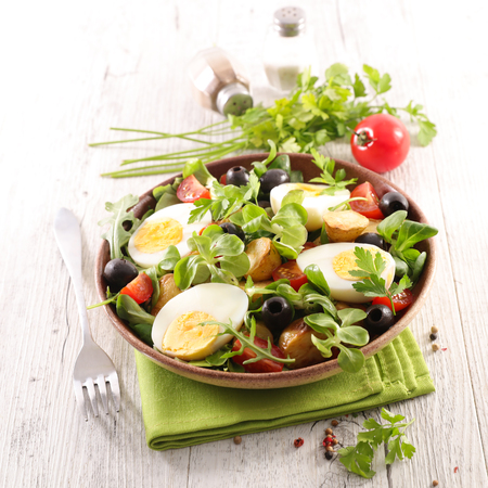 vegetable salad with egg 스톡 콘텐츠