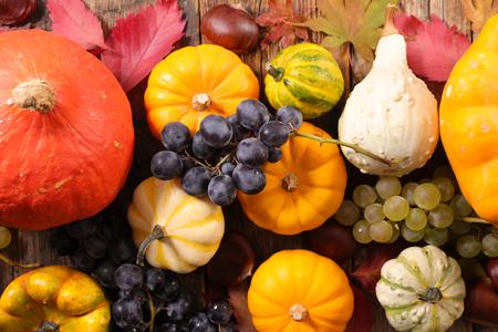 various pumpkin and grape