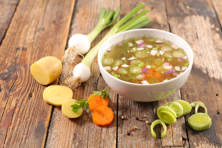 bowl of soup, broth Stock Photo