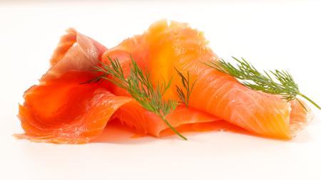 smoked salmon on white background