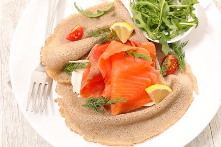 crepe with smoked salmon