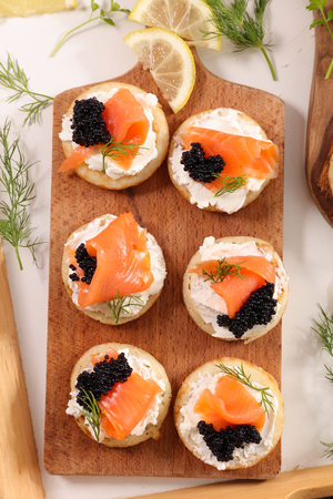 bread with cheese, salmon and caviar 版權商用圖片