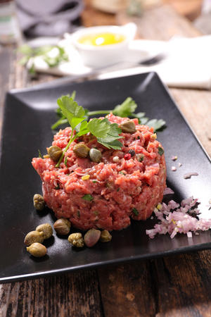 beef tartar and herb Stock Photo