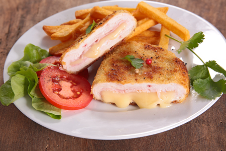 cordon bleu, chicken with cheese and ham