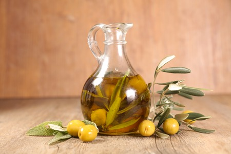 oil bottle and olive branch Stock Photo