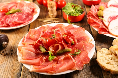 assorted salami, bacon and ham with bread and olive Imagens - 120739681
