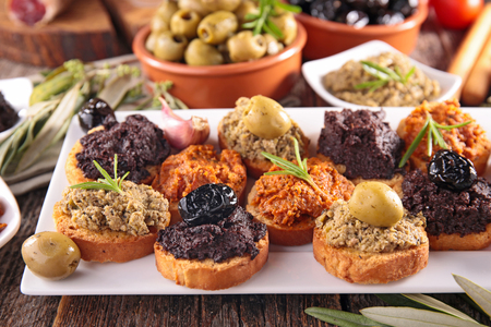 assorted of tapenade, dining appetizer
