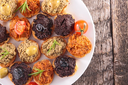 assorted of tapenade, dining appetizer 免版税图像
