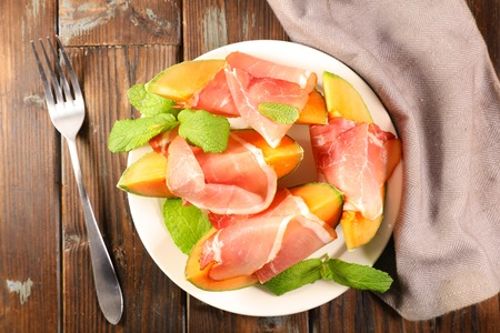 melon slices and ham