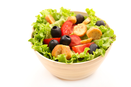 vegetable salad with tomato, olive and crouton