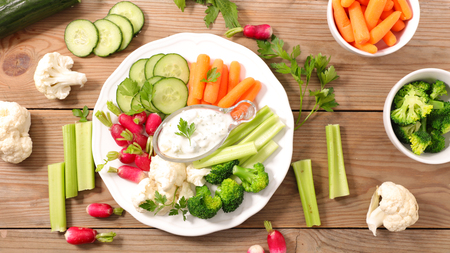 radish,cucumber and carrot with dipping sauce