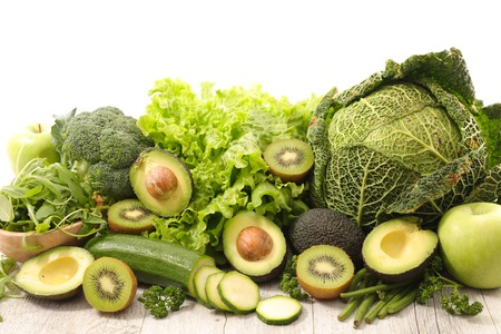 selection of green fruit and vegetable