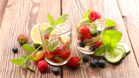 fruit ice cube and mint for summer