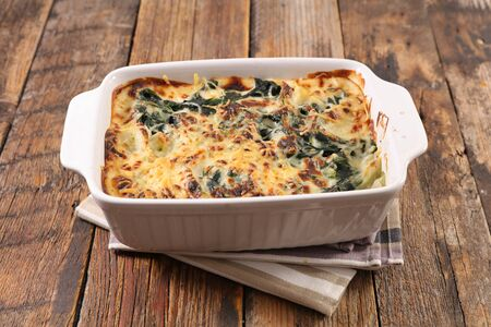 vegetable gratin, leek with cream and cheese