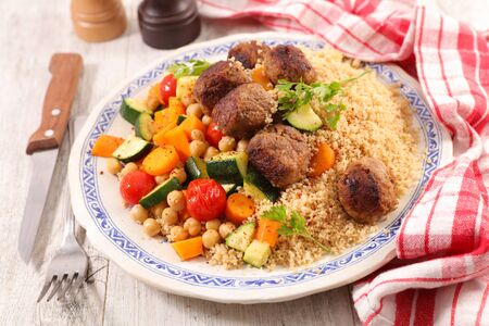 couscous with vegetables and meatball