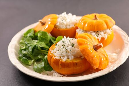 pumpkin cooked with rice and salad