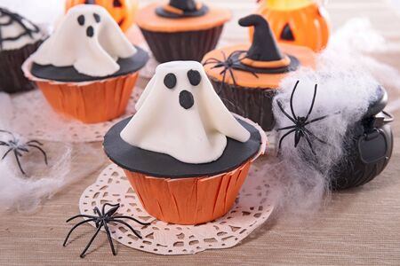 halloween confectionery- cake and sugar decoration Stock Photo