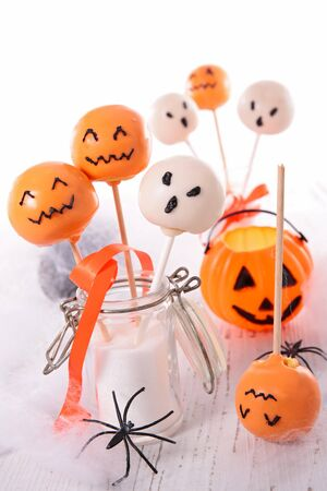 halloween cake pop and festive decoration