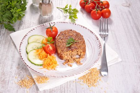 vegetarian food with cereal burger and vegetables Stockfoto
