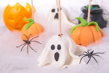 halloween decoration with confectionery and candy