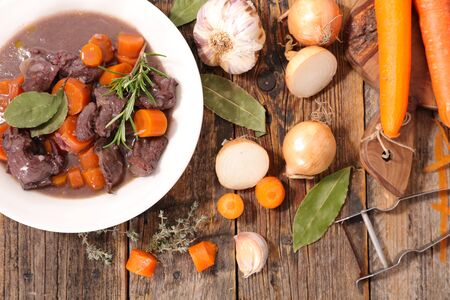 beef stew with carrot, herb and sauce