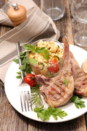 grilled lamb chop, crumble vegetable and spices Banco de Imagens