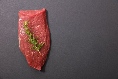 beef chop and rosemary, top view Banco de Imagens